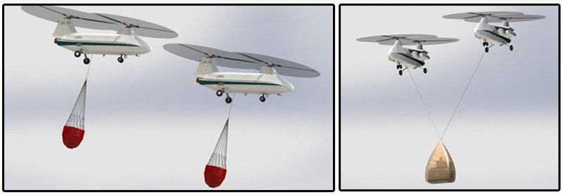 Image #1:  One operator can control multiple UAVs for simultaneous missions. Image #2: Optional, additional intelligence adds cooperative lift for larger loads.  DP-14 Hawk is depicted carrying camelback loads and sling load.